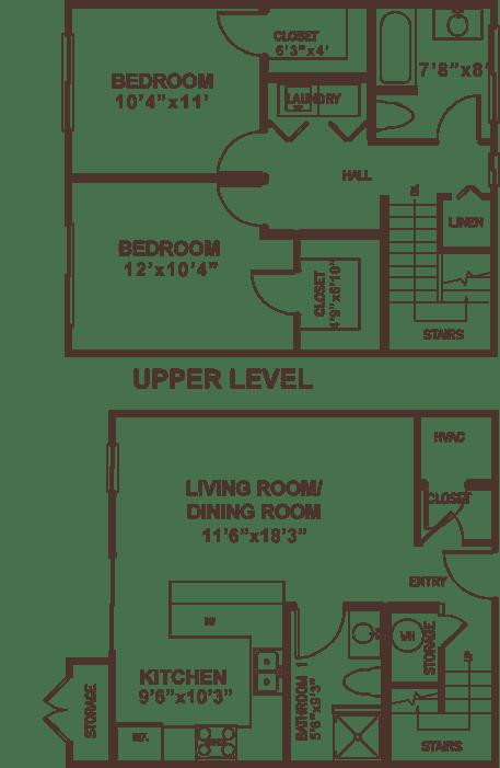 Two bedroom suite apartment floor plan.