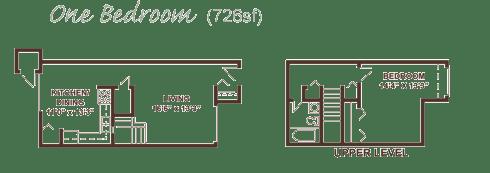 One bedroom apartment floor plan.