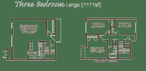 Large three bedroom apartment floor plan.