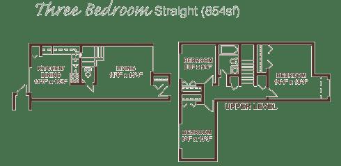 Three bedroom apartment floor plan.