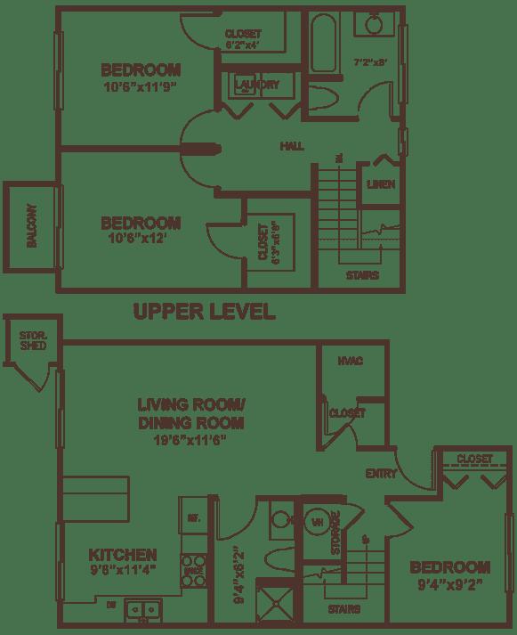 Three bedroom suite apartment floor plan.