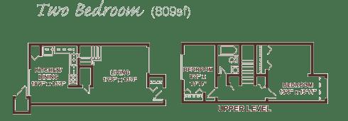 Two bedroom apartment floor plan.